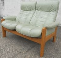 SOLD - Stressless, Two Seater High-Back Loveseat, Leather Reclining Sofa Settee